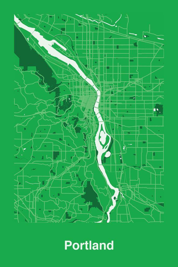 Portland USA map prints by 101 best