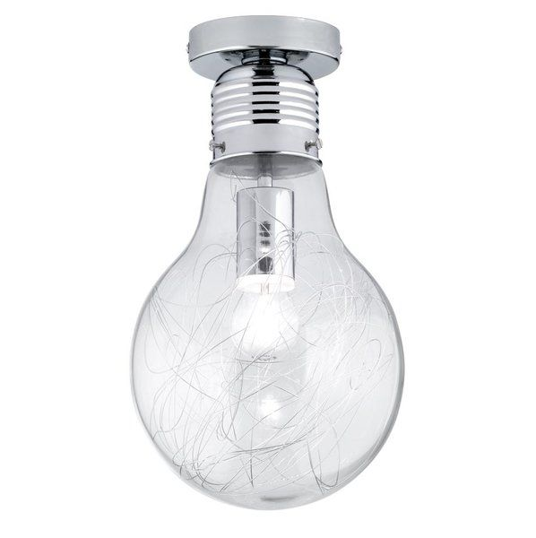 """The futuristic Futura ceiling light by WOFI could be an eye-catcher in your living space. The ceiling lamp featuring an oversized design is an exceptional piece that will work to enhance any room. The fixture is held in a shiny chrome. Inside the lamp a silver wire mesh works to complete the """"look"""". The bulb is interchangeable."""