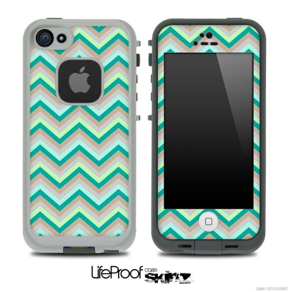 LifeProof Case iPhone 5C   ... Subtle Greens Chevron Pattern for the iPhone 5 or 4/4s LifeProof Case
