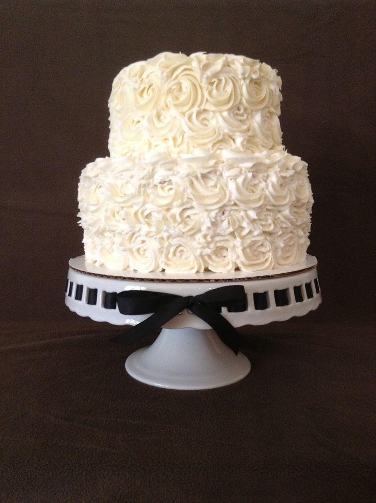 2 Tier White Rosette Cake Cakerun Pinterest Pink