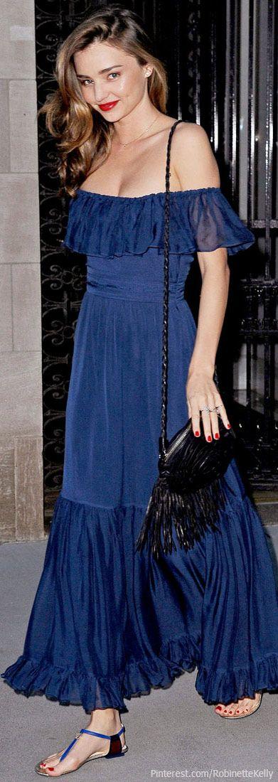 Street Style | Miranda Kerr, gorgeous in cobalt blue maxi dress #boho #celeb