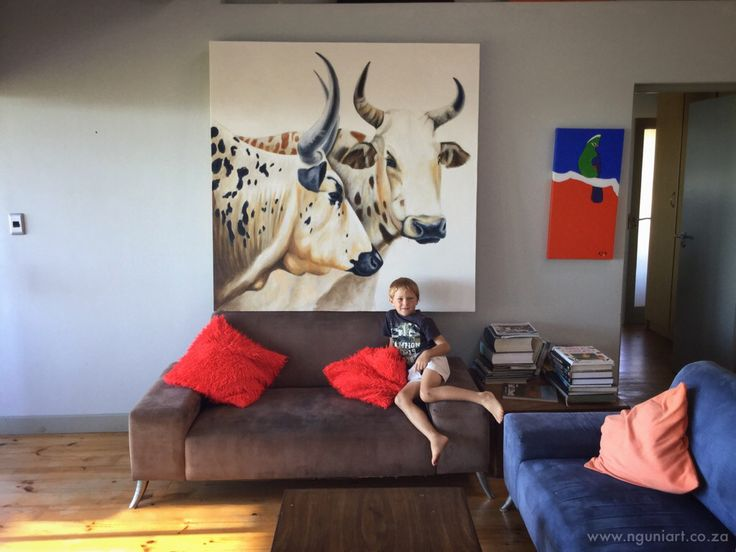 Large nguni painting, commission, 1.5m x 1.5m By Murray  www.nguniart.co.za