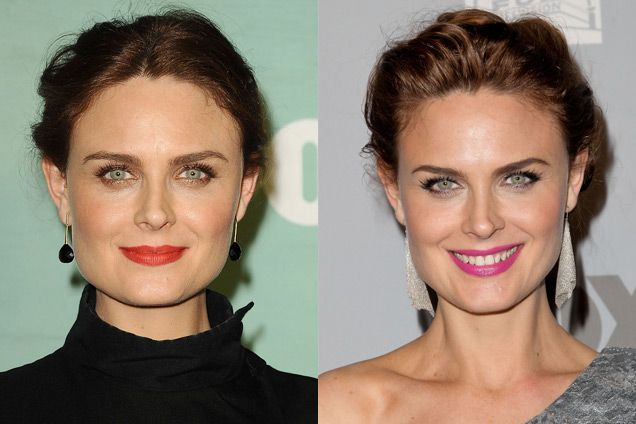EMILY DESCHANEL The easiest way to break out of a boring streak is to try new shades of bright, pigmented lipsticks, something Emily does fearlessly. Fuchsias and oranges without any blue tones look stunning on most complexions. With pinks, chalkier shades are best for fair skin, and rich colors work well on olive and dark complexions. Make sure to exfoliate and moisturize your lips thoroughly, then blot away any excess balm before applying lip color. And keep the rest of your makeup…