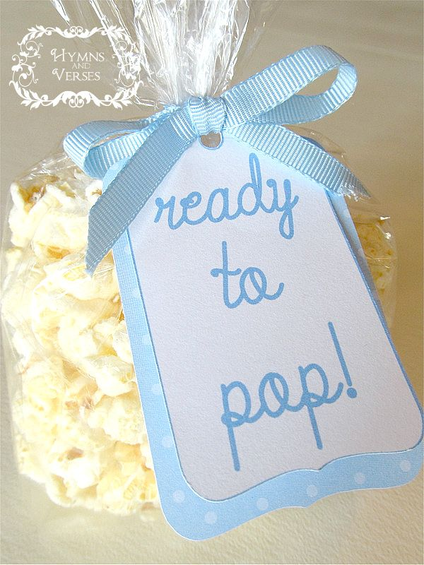 "It's a Boy! - Baby Shower Ideas with carmel corn instead. Tag could also say ""thanks for popping by to celebrate Baby Noah"""