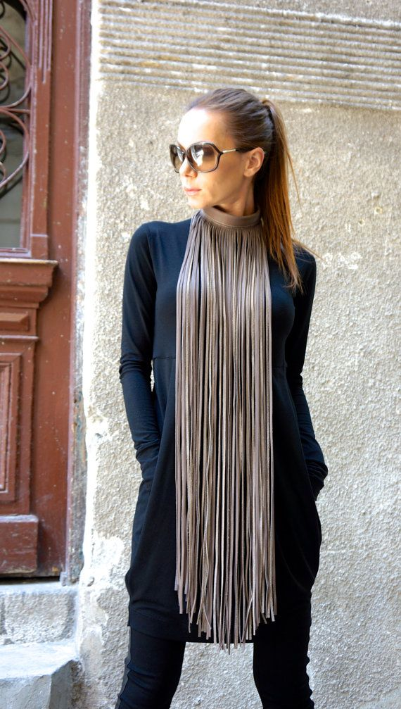 NEW Collection Navy Extravagant Fringe Long Leather by Aakasha