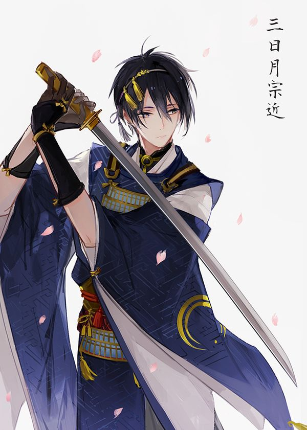Image with 1boy, blue_eyes, blue_hair, cherry_blossoms, gloves, hair_ornament, japanese_clothes, sword, weapon, Mikazuki_munechika_(touken_ranbu), Touken_ranbu, Wonkrin, categories