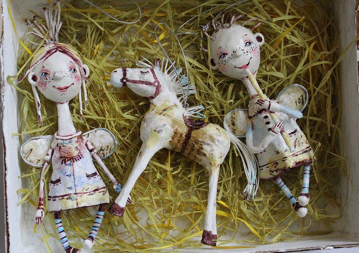 Набор елочных игрушек из ватного папье-маше | Flickr - Photo Sharing!