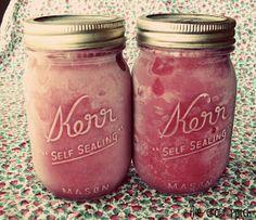 Strawberry freezer jam made with strawberry jello instead of pectin.
