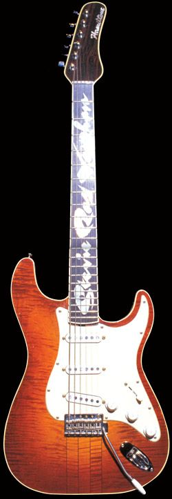 """Hamiltone A.K.A. """"Main""""  Acquired on April 29, 1984, a gift from Billy Gibbons (ZZ Top), crafted by James Hamilton. Two-piece maple body, neck through the body design. Originally with EMG preamped pickups, René installed vintage Fender pickups. Fingerboard is ebony with inlaid mother-of-pearl. The original active pickups were replaced (after they were damaged in the filming of the """"Couldn't Stand the Weather"""" video) with passive pickups. It is said that Stevie didn't want to get Number One…"""