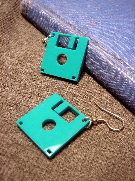 Floppy Disk Geek Earrings  Laser Cut Acrylic by HoraEffect on Etsy, $8.50