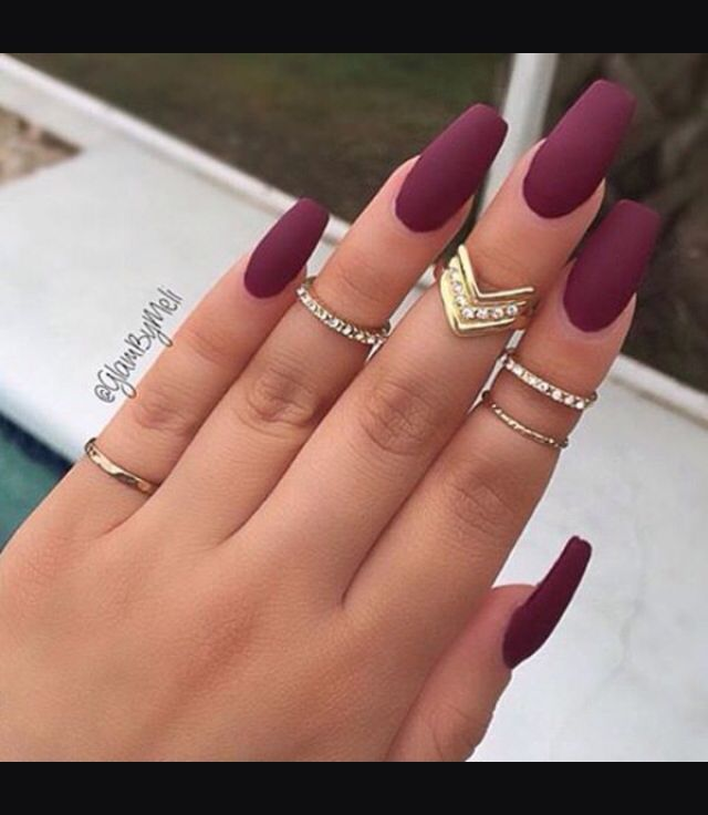 |•| Nails |•| • Burgundy • Matte Nails • Midi Rings • Gold Ring • Diamond Detailing