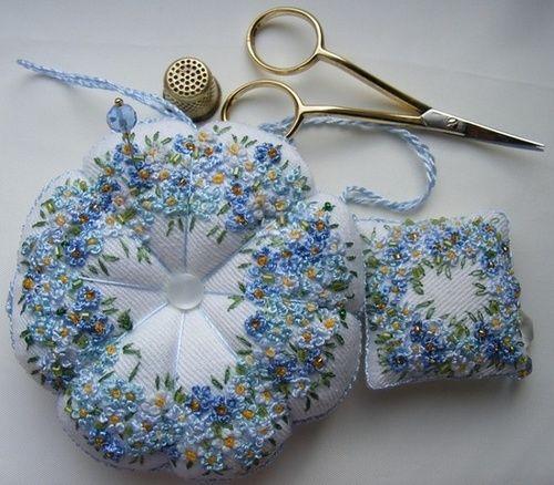 French knots pin cushions.