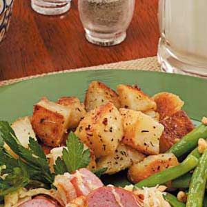 "Crispy Potato Cubes Recipe -""My mother used to serve these savory herb potatoes when I was growing up, and she included the recipe in a cookbook she made for me when I got married,"" writes Jenelle Piepmeier of Severna Park, Maryland. ""They fill the kitchen with a heavenly aroma."""