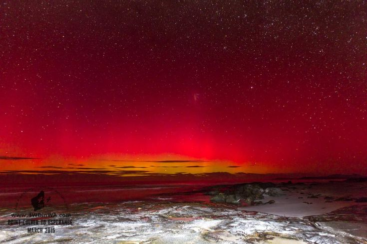 Auroras near Poisen Creek, Western Australia.