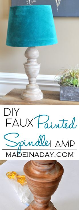 DIY Faux Wood Spindle Lamp, turn a thrift store brass lamp into a trendy Wood Spindle Lamp with faux painting. Teal lamp shade, wood spindle via @madeinaday