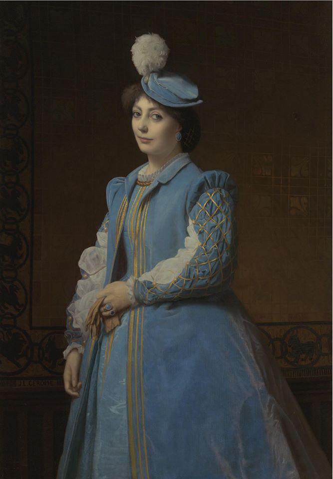 Portrait d'une femme en bleu, attribué à Charles-François Jalabert