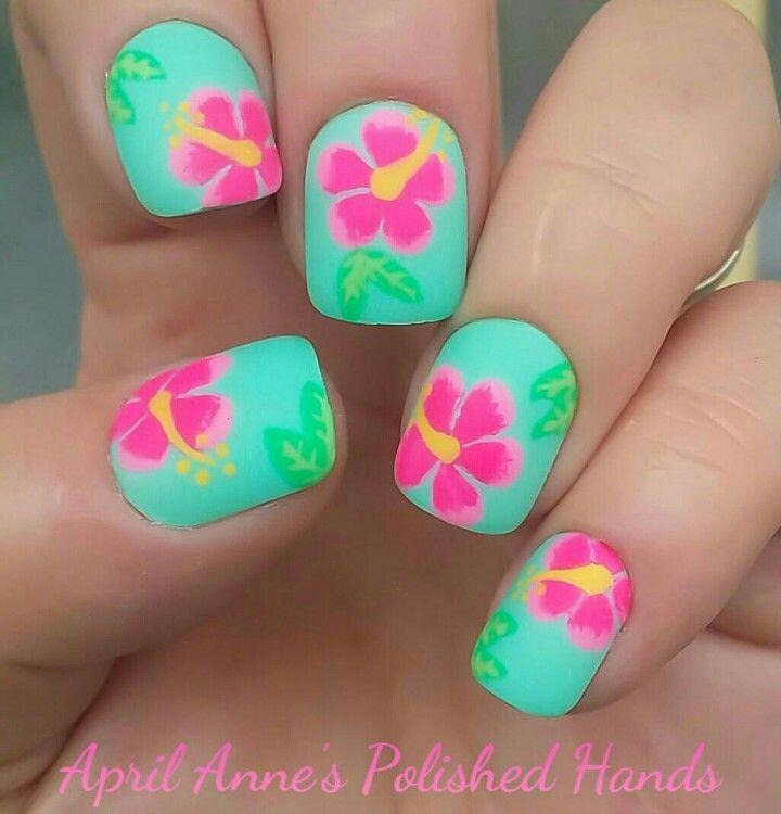 Beautiful tropical flower nail art