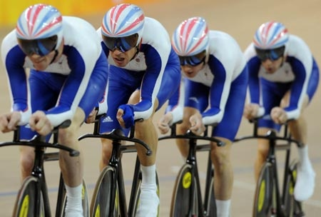 Team GB - Mens Team Pursuit - Cycling ~ Beijing 2008 - Ed Clancy   Paul Manning   Geraint Thomas   Bradley Wiggins