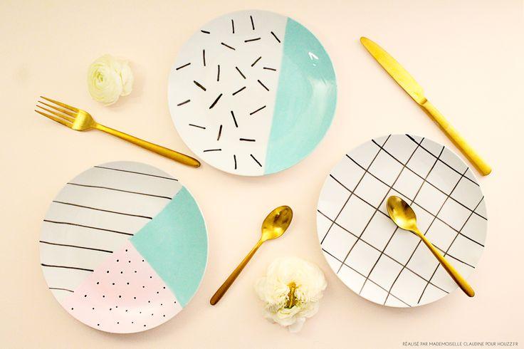 DIY peinture sur céramique. Comment customiser des assiette dans le style Memphis. Des couleurs pastel et des motifs. / DIY painting on ceramic. How to customize plates in Memphis style. Pastel colors and patterns.