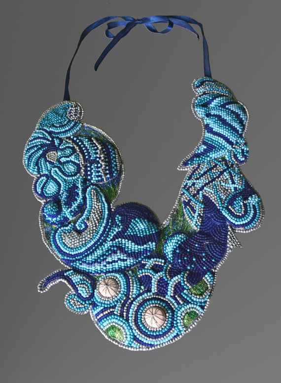 Blue Doodling Necklace by SpiralDesignJewelry on Etsy, $258.00