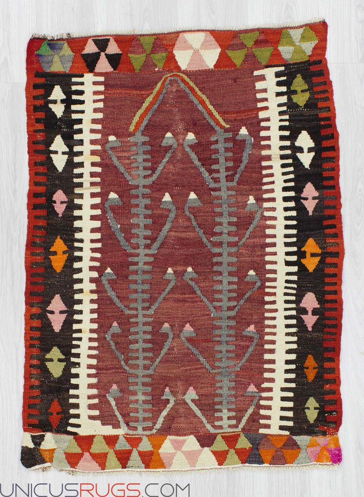 "Vintage kilim rug from Denizli region of Turkey. In very good condition. Approximately 40-50 years old Width: 2' 10"" - Length: 4' 0""  Colorful Kilims"