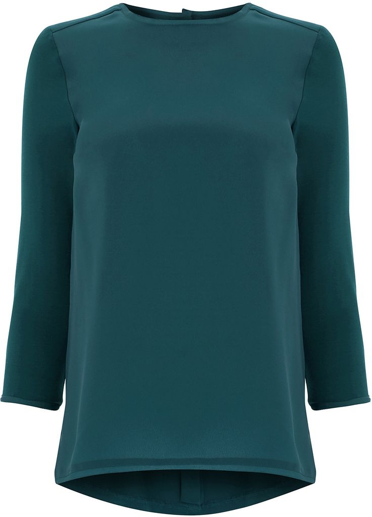 Womens teal smart woven trim top from Warehouse - £24 at ClothingByColour.com