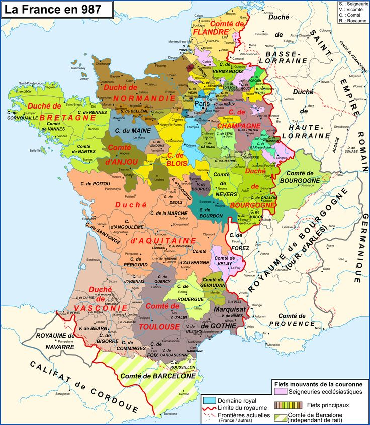 Map of France in year 987