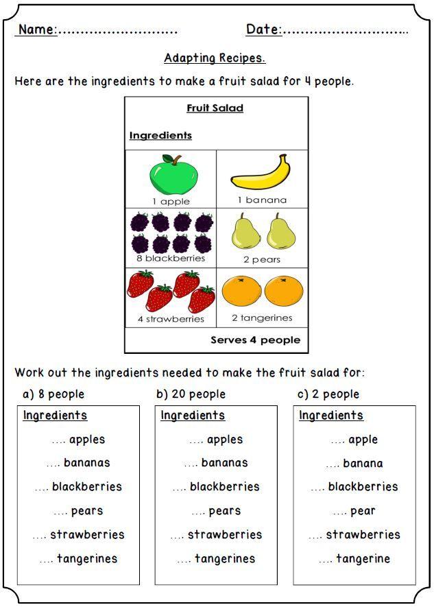 Functional Maths Adapting Recipes Teaching Resources Real Life Math Teaching Resources Math Activities