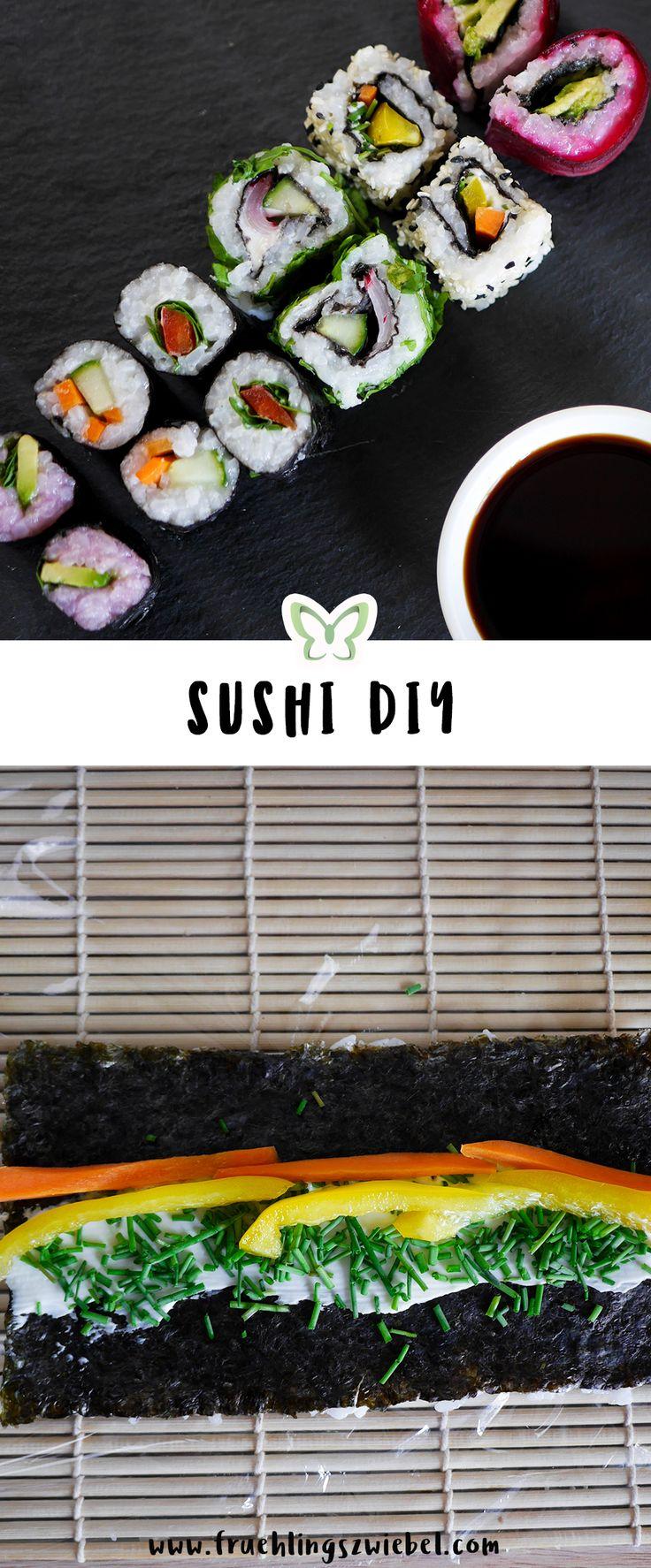 Sushi ist richtig gesundes Fast Food - vor allem selbstgemacht. Ich zeige euch einfache Rezepte für leckere vegetarische Maki und Califonia Rolls #sushi #rezept #selbermachen #diy
