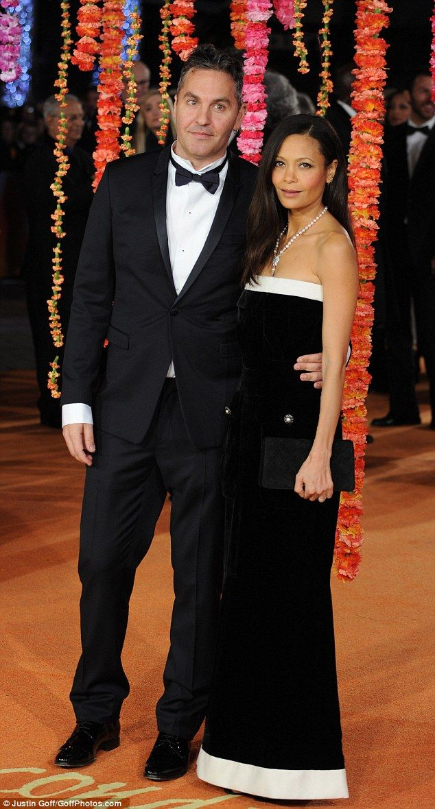 Proud partner: Thandie Newton accompanied her  husband Oliver Parker to the Royal Performance and World Premiere of The Second Best Exotic Marigold Hotel in London's Leicester Square on Tuesday