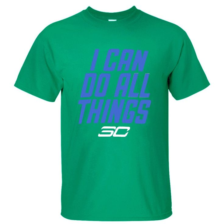 POCOO Men's Stephen Curry SC30 I Can Do All Things Cotton T-shirt green -- Awesome products selected by Anna Churchill