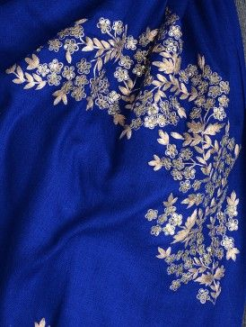 Blue Gota Patti Cashmere Wool Stole