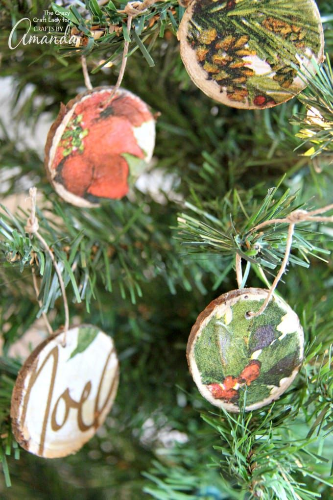 Easy DIY Wood Slice Ornaments using decoupaged napkins