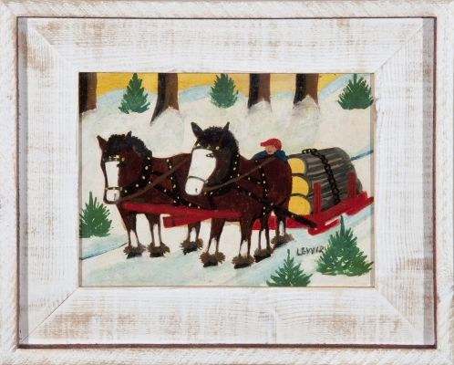 Maud Lewis: Horses Hauling Logs, oil on panel, circa 1948, at Mayberry Fine Art Toronto, exhibtion from November 21 - December 12, 2015