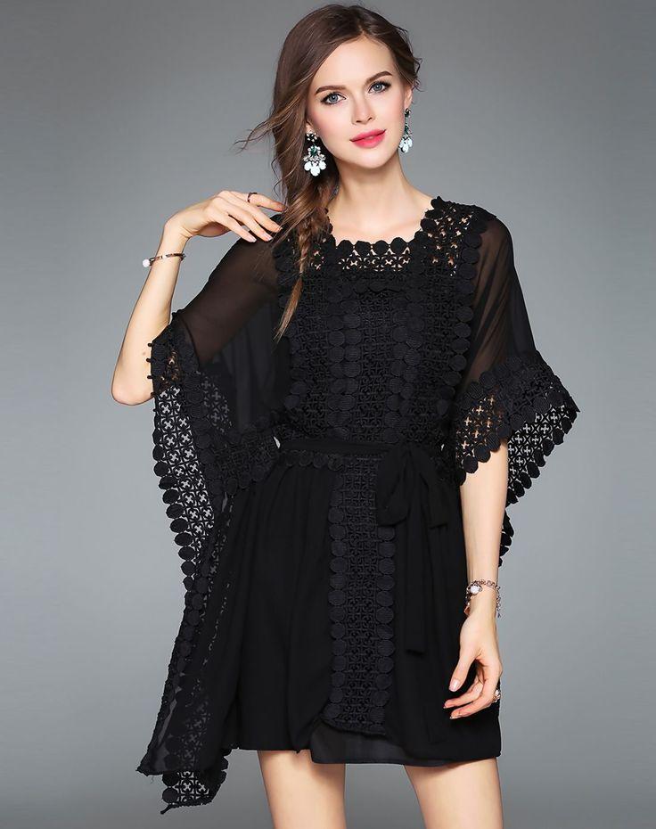 #AdoreWe #VIPme Skater Dresses❤️Designer ZERACO Black Crochet Chiffon Batwing Stand Collar Plain Dress - AdoreWe.com