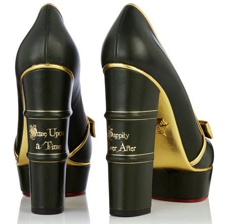 ON ACHÈVE BIEN LES MÉGOTS... Charlotte Olympia 'Fairy Tale' Shoes with book spine heels