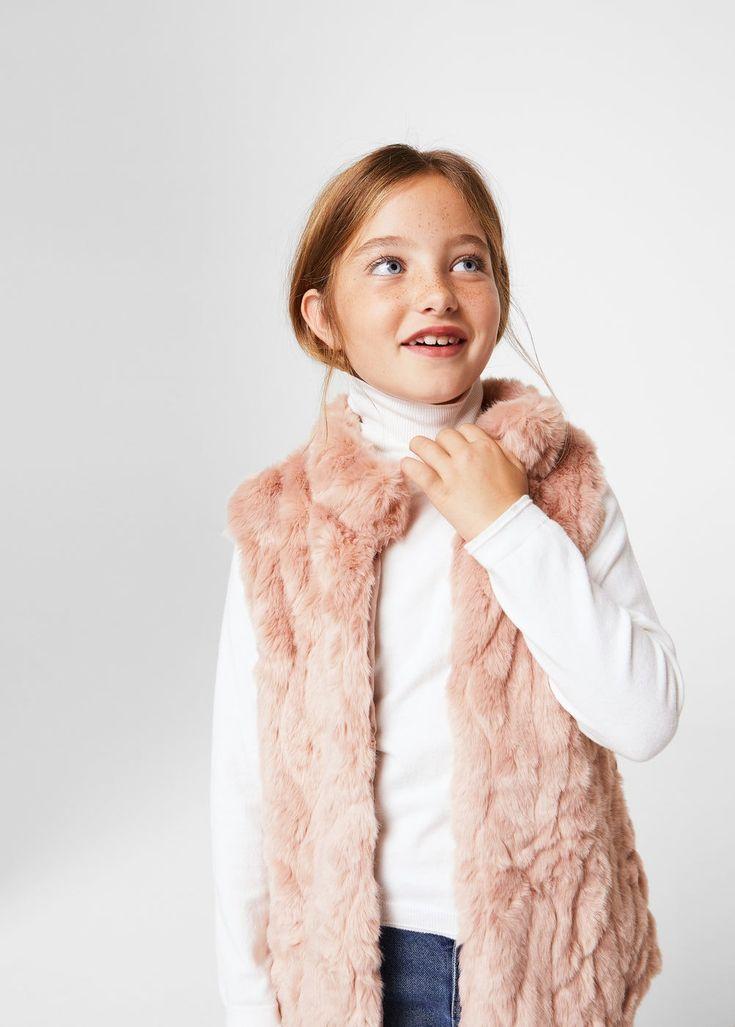 Gilet fourrure ceinture - Fille   MANGO Kids France