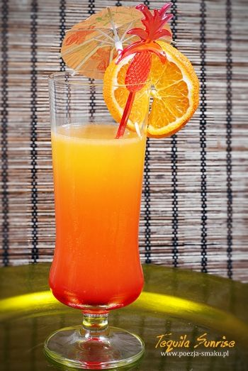 Tequila Sunrise - kolorowy drink (Tequila Sunrise - recipe in Polish)