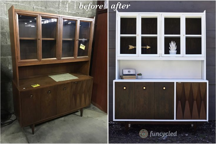 Mid-Century Modern Hutch Re-Design http://funcycled.com/projects/mid-century-modern-hutch-redesign-tuesdays-treasures/ #funcycled #makeover #design #interiors #repurposedfurniture #homedesign