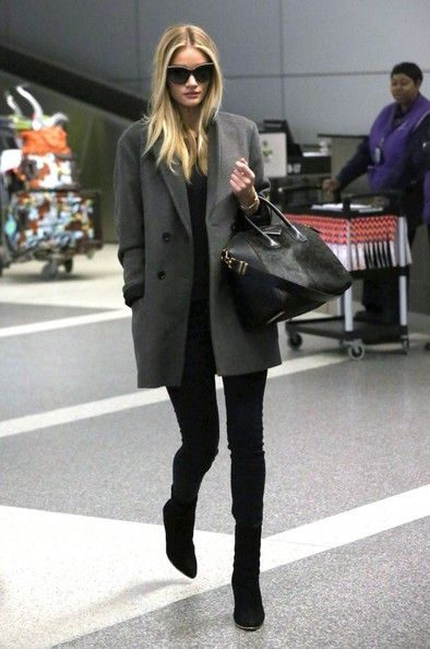 Rosie Huntington-Whiteley - Rosie Huntington-Whiteley Arrives at LAX looking glam in an oversized boyfriend coat.