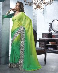 #Shades of #green #color #Jacquard #crape material casual #saree #sari #2014