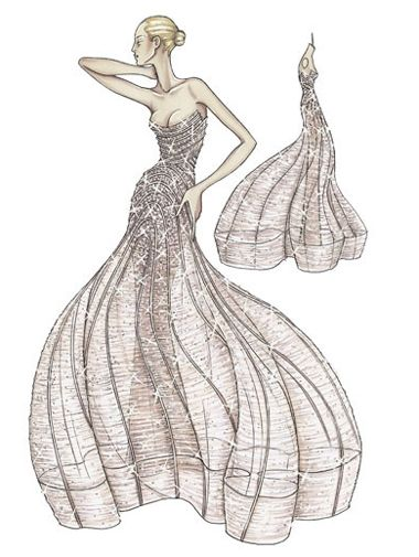 """Atelier Versace Spring 2009  Antique rose evening dress in silk tulle and georgette Micro draping forms the bodice while boned piping retains the shape before falling to create the """"cage"""" shape Embroidered entirely in crystal in a """"degrade"""" effect"""