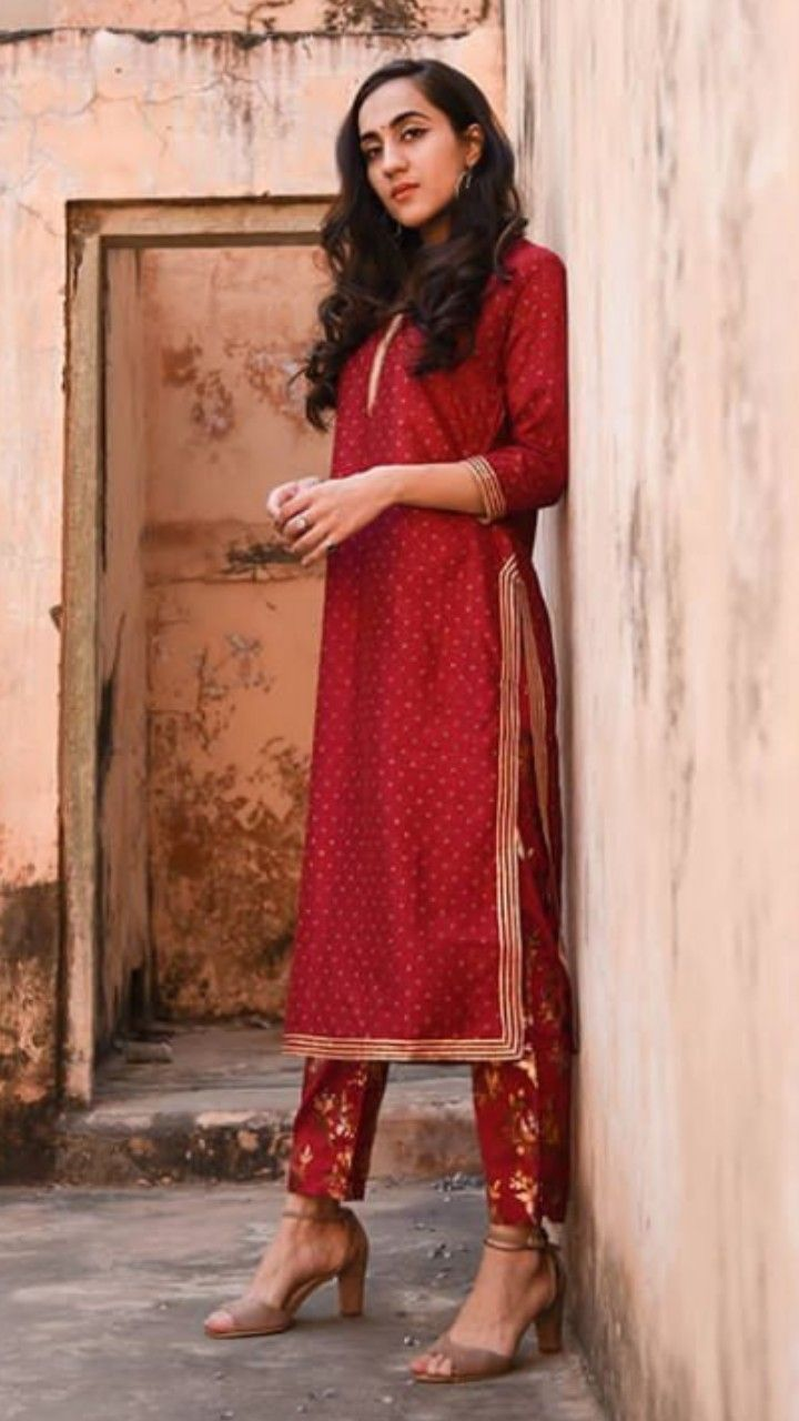 3e5132185b8e7 Beautiful chanderi-silk Kurti with gota patti embellishments. Paired with  golden printed silk pencil pant . Simple and classic. #kevadesign #suits  #ppant
