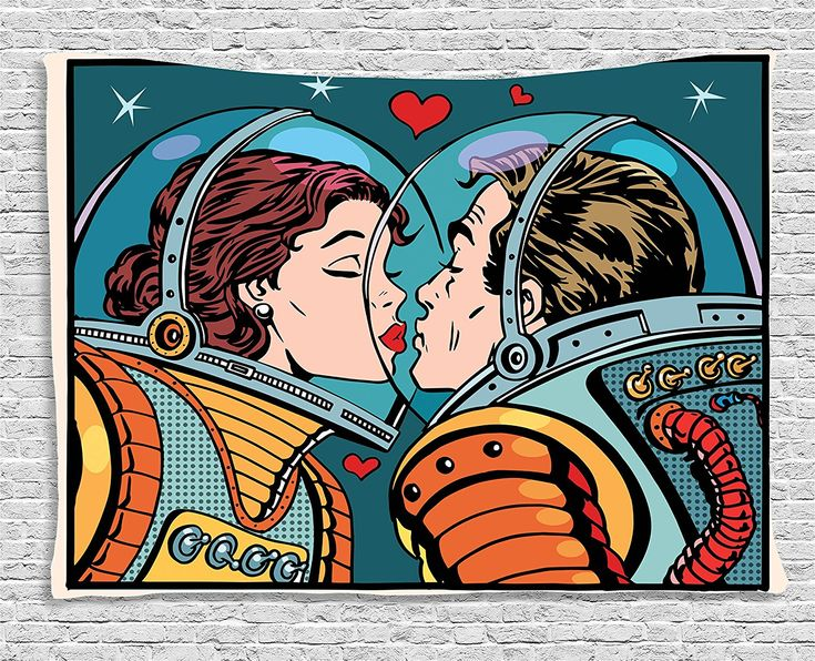 Love Decor Tapestry by Ambesonne, Space Man and Woman Astronauts Kissing Science Cosmos Fantasy Couple Pop Art Style Artful Print, Wall Hanging for Bedroom Living Room Dorm, 80W X 60L Inch, Multicolor