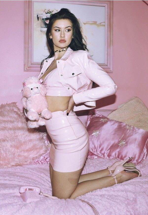 Galore Pink Patent Faux Leather Jacket - Missguided