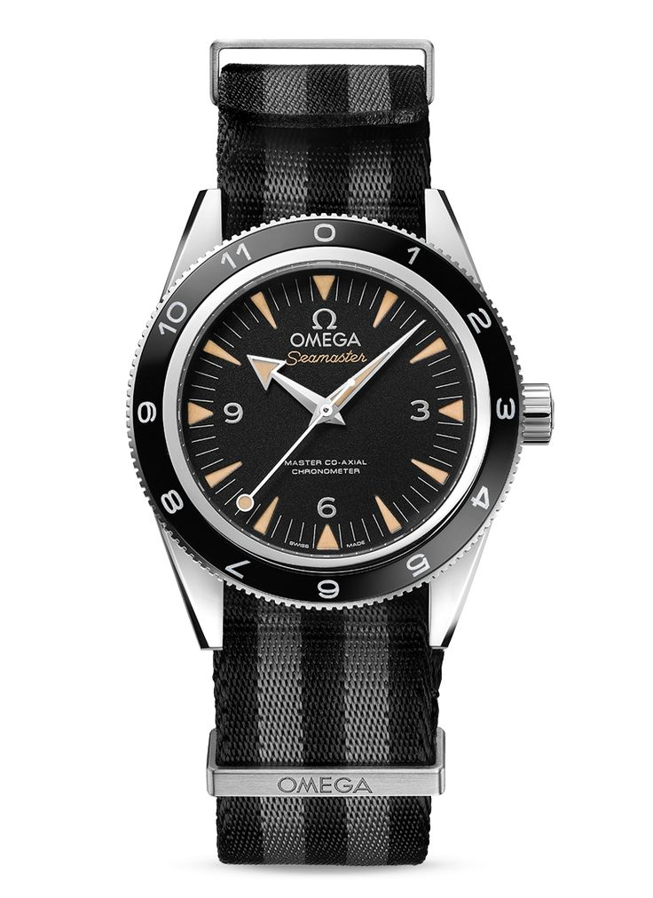 This unique Seamaster 300, the actual model worn by James Bond in SPECTRE, comes in a robust stainless steel case with a sleek, black and grey striped NATO strap. Inside, the watch is powered by the OMEGA Master Co-Axial calibre 8400, a revolutionary movement that is resistant to magnetic fields up to 15,000 gauss.