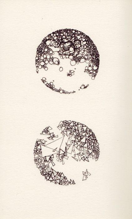 """Two Moons."" 12.31.2011. Happy New Year.  #circle #circles #sketch #drawing #ink #pen #moons"