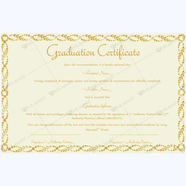 Best Graduation Certificate Templates Images On