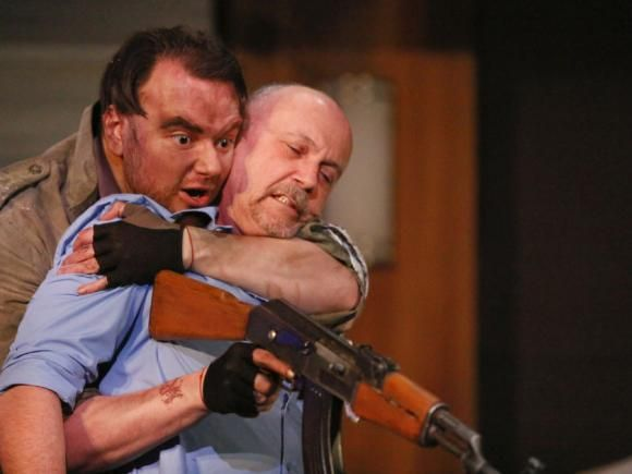 Raresh DiMofte and Michael Kopsa. Photo by Tim Matheson  in #Blasted by #SarahKane produced by #Pitheatre