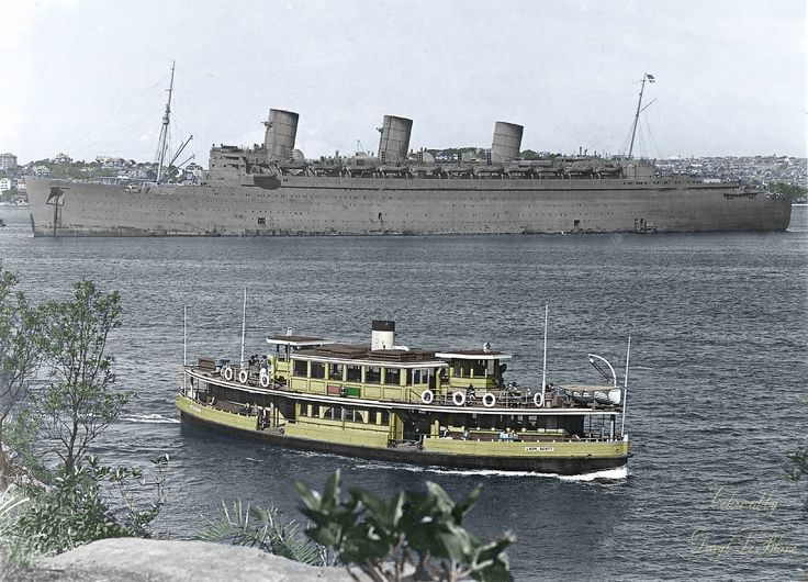 Queen Mary in Sydney Harbour in the 1940s